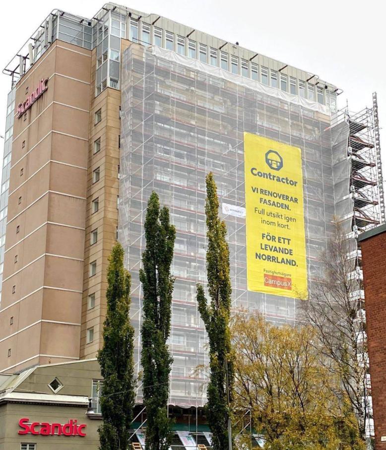 Fasadrenovering som syns i Umeå